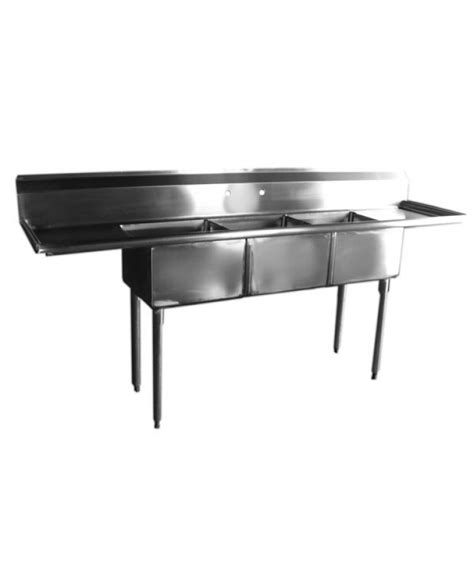 3 compartment sink with 2 drainboards 3 compartments sink with 2 drainboards