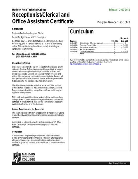 Office Assistant Certification by Receptionist Clerical And Office Assistant Certificate
