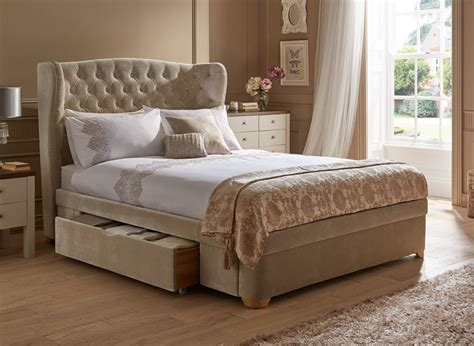velvet upholstered bed maree natural velvet effect upholstered bed frame dreams