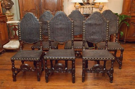 gothic dining room furniture set of 12 antique gothic style oak and leather dining