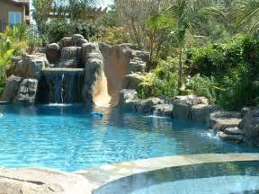 rock waterfalls for pools artificial rock slide grotto and waterfall view from the