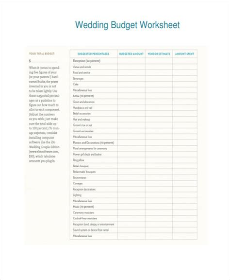 wedding budget form 6 wedding budget form sle free sle exle