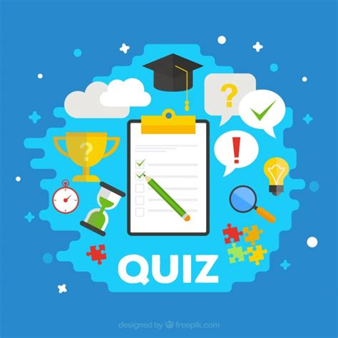 design quiz quiz background with items in flat design vector free