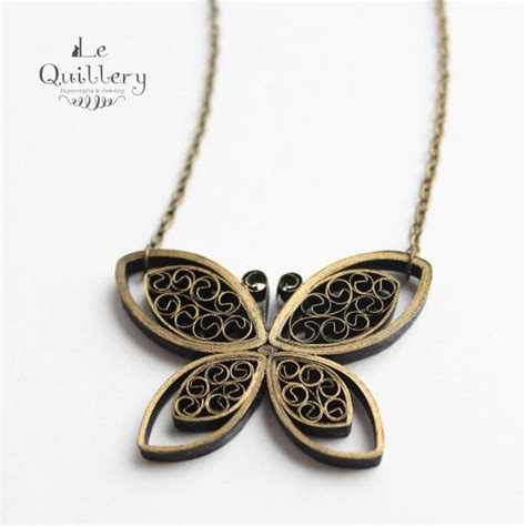 Jewellery With Paper - quilling jewelry ooak quilled paper butterfly necklace