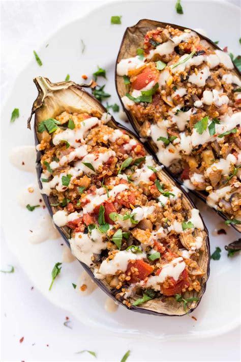 stuffed eggplant quinoa stuffed eggplant with tahini sauce simply quinoa