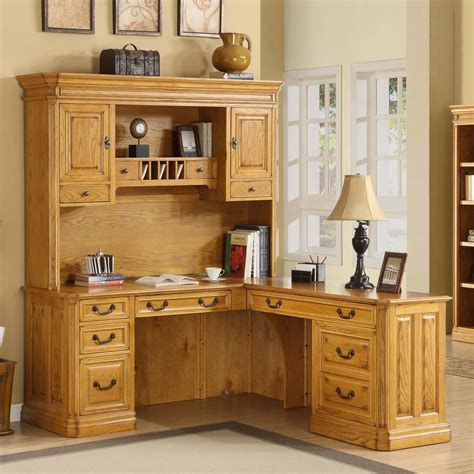 solid oak l shaped desk with hutch whalen cambria l shaped desk with optional hutch desks