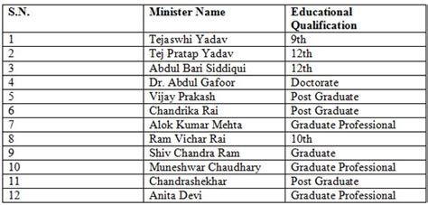 educational qualifications of nitish s ministers