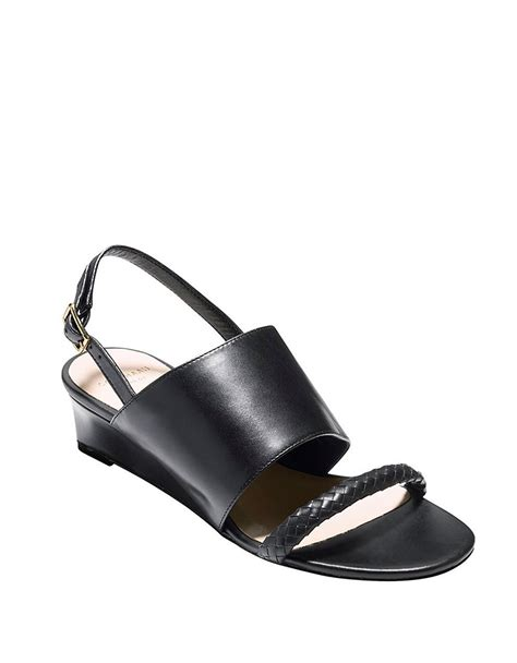 cole haan black wedge sandals cole haan lise leather wedge sandals in black lyst
