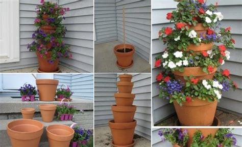 Diy Flower Tower Planter by Diy A Terra Cotta Pot Flower Tower 1001 Gardens