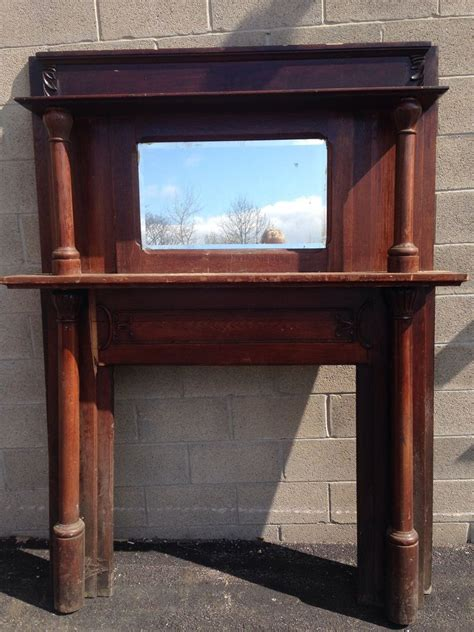 Vintage Fireplace Mantel by Antique Oak Carved Column Fireplace Mantle Ebay