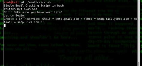 tutorial hydra linux how to brute force email using a simple bash script ft