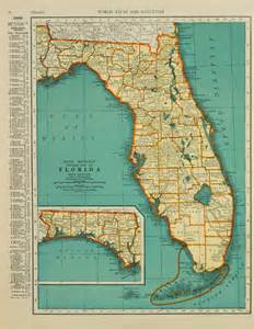 vintage map florida original 1935 by pastonpaper on etsy