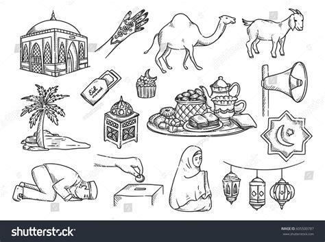 doodle islamic islamic doodle suitable ramadan eid mubarak stock vector