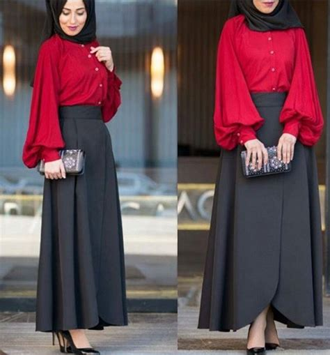 Setelan Blouse Dan Maxi Skirt Nagia Set black skirt and tomato blouse check out esma