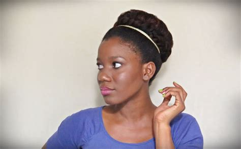relaxed hair buns braided bun tutorial thicker hair illusion video