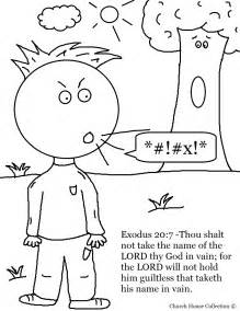 10 commandments coloring page thou shalt not take name in vain coloring page