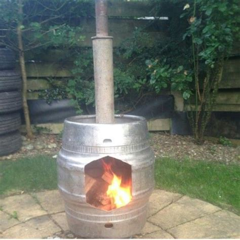 keg chiminea chimnea made from an keg and an exhaust