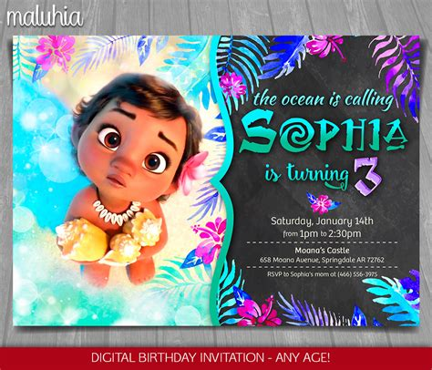 Moana Card Template by Moana Invitation Disney Moana Invite Moana Birthday