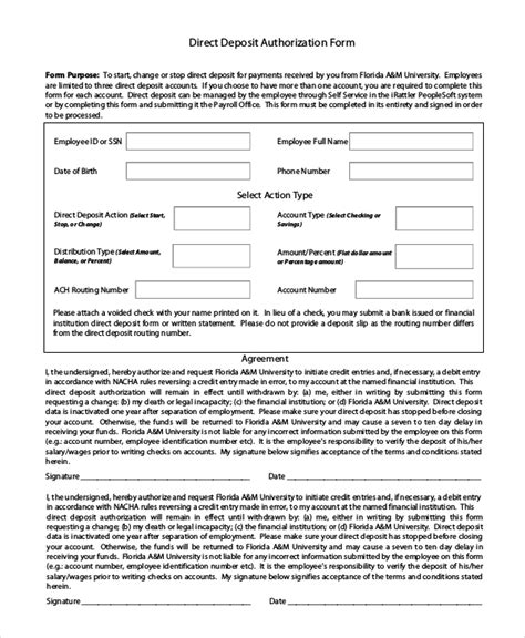 sample payroll direct deposit form 9 free documents in word pdf