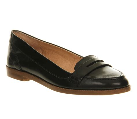 womens black loafers womens office educated loafer new black leather flats ebay