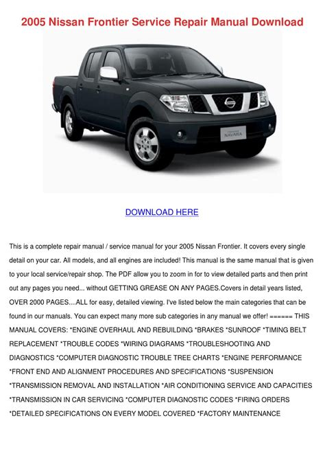 how to download repair manuals 2005 nissan frontier auto manual 2005 nissan frontier service repair manual do by antoinettewillie issuu