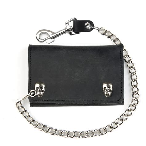 Chain Wallet by Large Black Leather Tri Fold Wallet With Skull Snaps