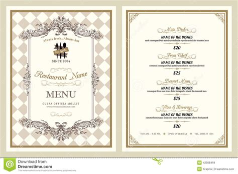 menu sle template vintage style restaurant menu design stock vector image