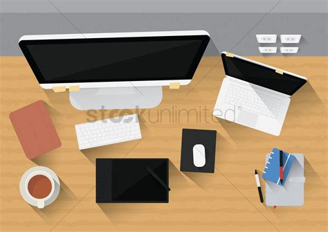 Office Desk Stationery Office Desk With Computer Gadgets And Stationery Vector Image 1530188 Stockunlimited