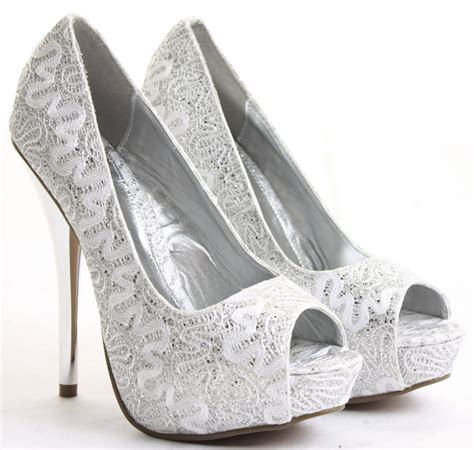 silver high heel shoes for wedding collection 2017