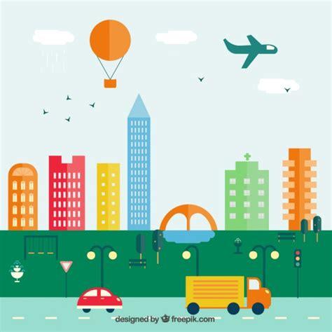 imagenes de paisajes urbanos animados paisaje urbano colorido en dise 241 o plano descargar