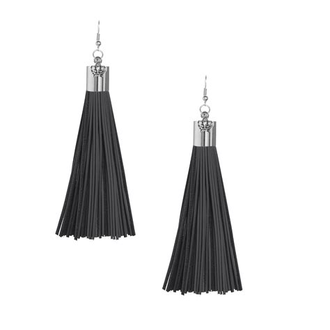 Anting Tassel Black I You black leather tassel earrings with silver cap