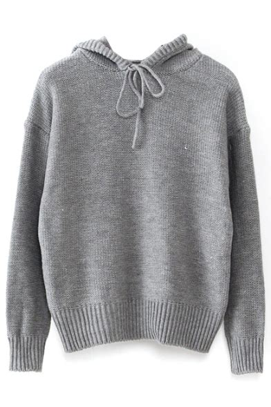 Hooded Drawstring Sweater gray sleeve hooded drawstring sweater beautifulhalo