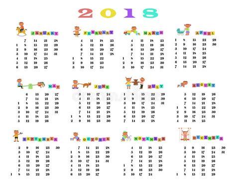 Almanacka år 2018 Calendar 2018 With Children Stock Vector Image
