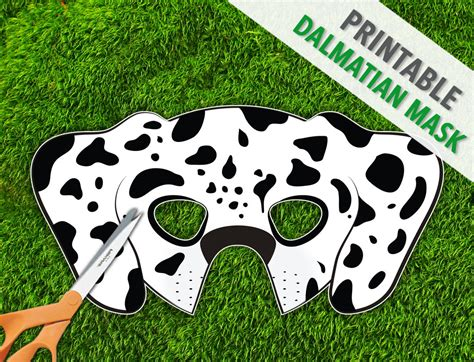 printable puppy mask dalmatian printable dog mask spotted dog mask by therasilisk