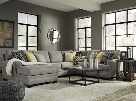 laf sofa rooms to go cresson pewter 4 pc laf chaise sectional sectionals
