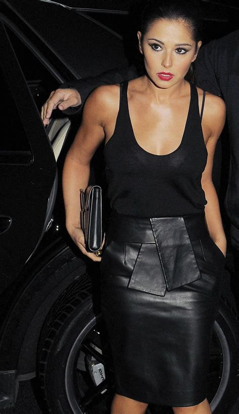 in leather cheryl cole wears a black leather