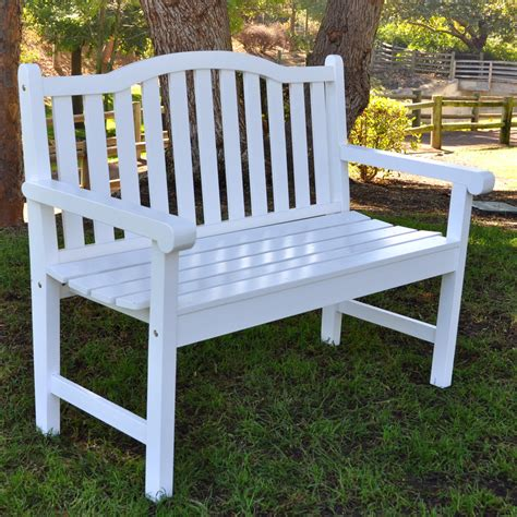 white bench outdoor shine company belfort curved back garden bench white at