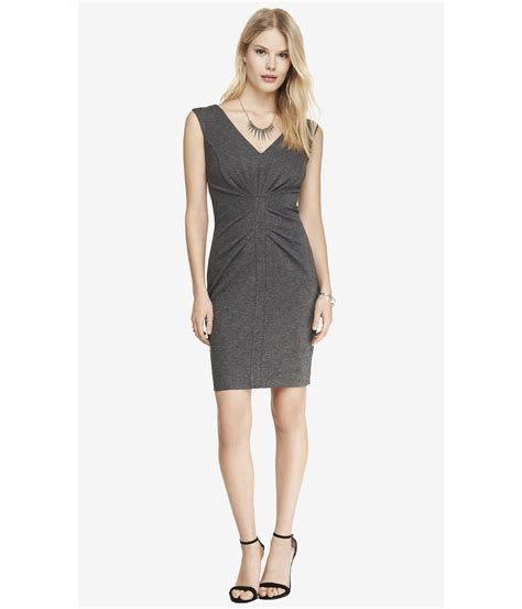 ponte knit dresses express ponte knit v neck ruched sheath dress in gray lyst
