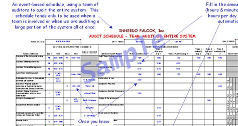 internal audit schedule template schedule template free