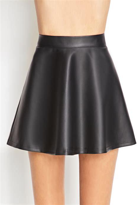 forever 21 faux leather skater skirt in black lyst