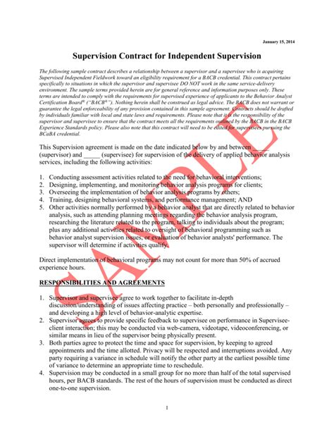supervision agreement template best supervision contract template contemporary exle