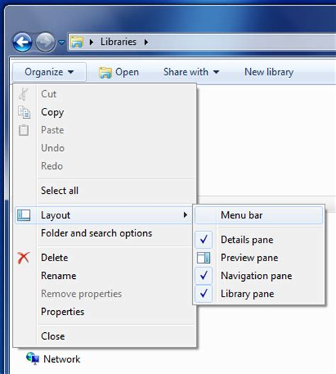 windows 7 layout menu bar windows 7 how to show or hide menu bar in windows