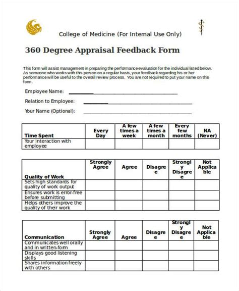 360 evaluation template sle 360 degree feedback forms 7 free documents in