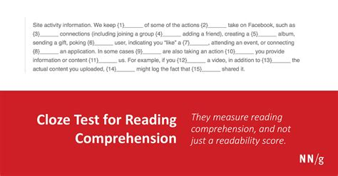 reading training missing cloze test for reading comprehension