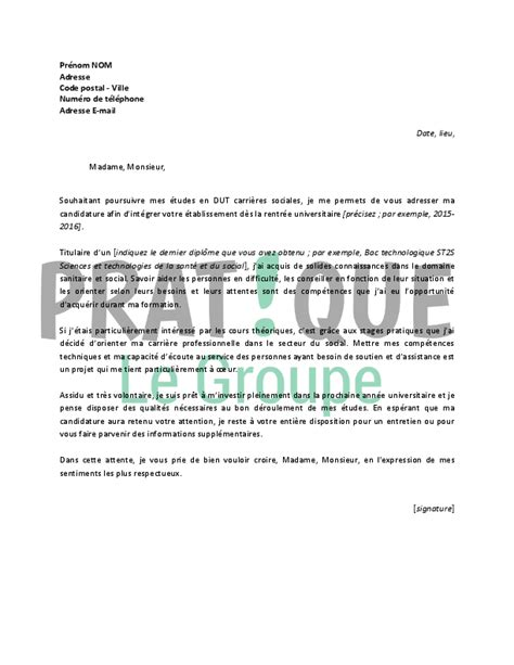 Lettre De Motivation De Dut Lettre De Motivation Pour Un Dut Carri 232 Res Sociales Pratique Fr