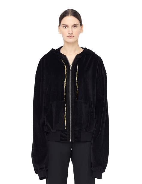 Embroidered Velvet Hoodie haider ackermann velvet zip up embroidered hoodie black