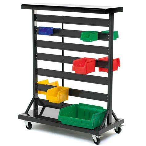 sided mobile plastic bin container rack gilr2y