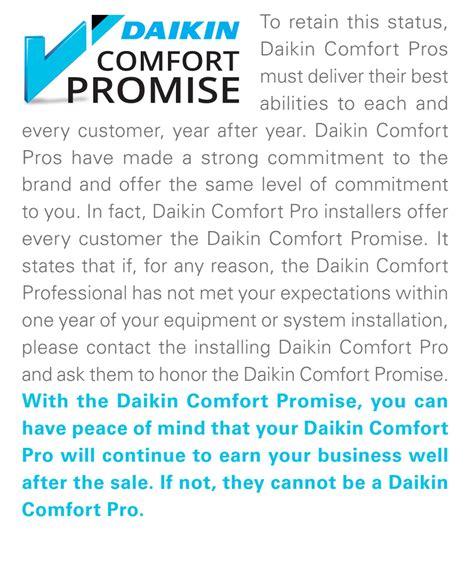 comfort air systems daikin comfort promise delta air systems ltd