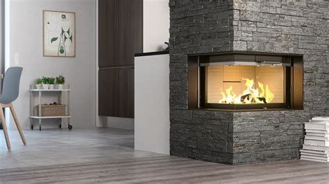 rais visio2 wood burning built in corner stove fireplace