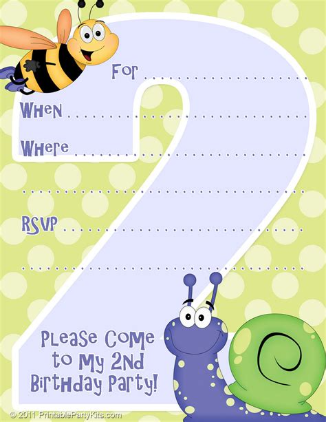 Free Printable Party Invitations Invitation Template For A 2nd Birthday Party 2nd Birthday Invitations Templates Free